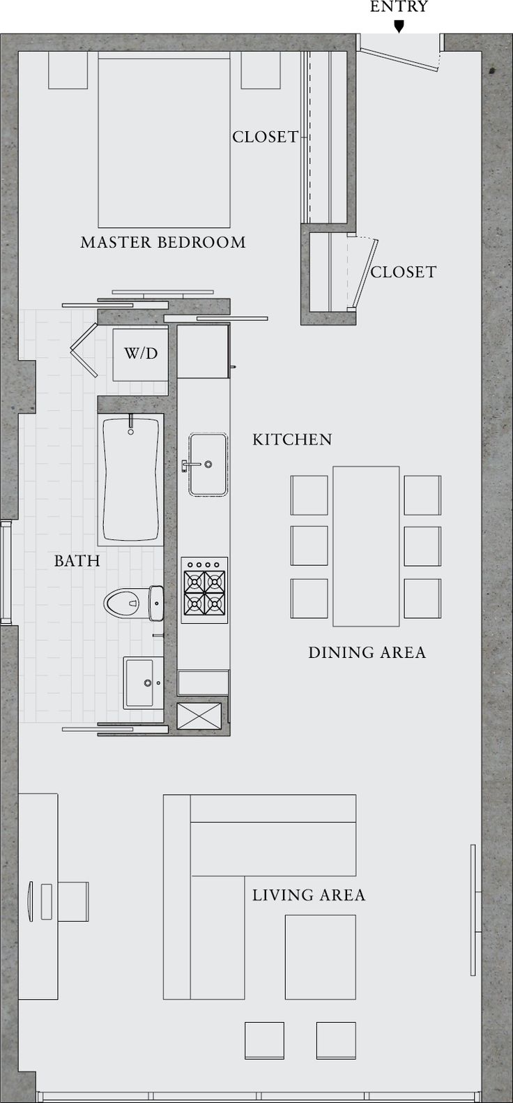 Best 25 small apartment plans ideas on pinterest for Efficiency apartment floor plans