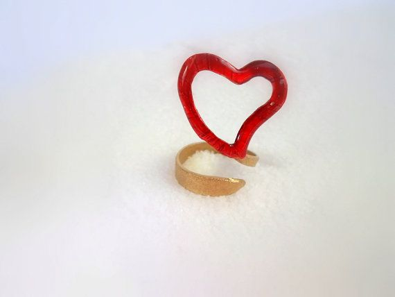 handmade Ring red heart made of brass hand painted by violettstyle, €17.38