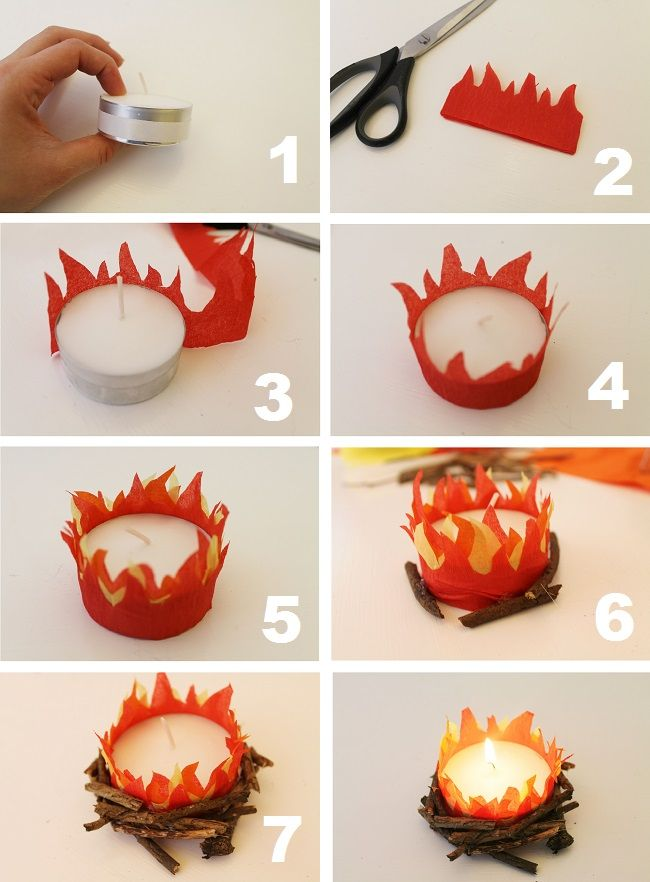 How to make a mini bonfire candle!  These work really well adn all of the 7-10 year olds could do this