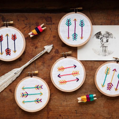 Fun miniature embroidery kit on Martha Stewart American Made: Idea, Embroidery Kits, Diy'S, Brooklyn Crafts, Embroidery Hoop, Crafts Camping, Minis Arrows, Miniatures Rhinos, Arrows Embroidery