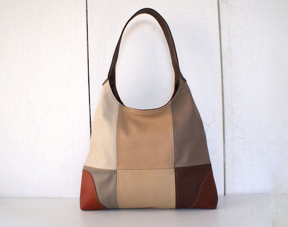 Leather Bag Purse 1970s Vintage Inspired Patchwork In Shades Of Brown Ooak Handmade By Bai Tatong Bags Totes Pinterest