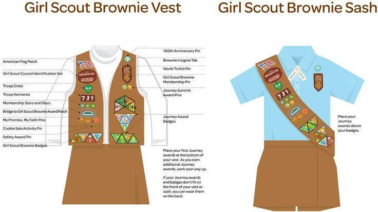 The Girl Scout Brownie Vest and Sash: placement of patches & pins #girlscoutswag