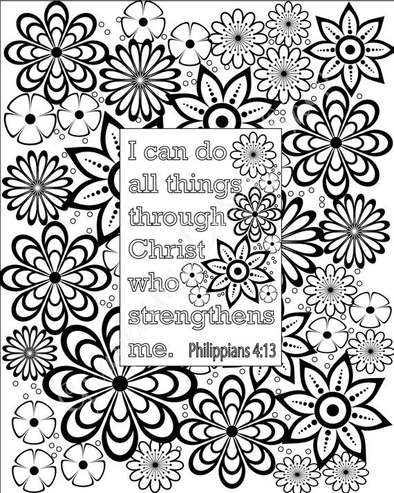 Flower Coloring Pages Bible Verse Sheets Set Of 5 Instant Printable PDF Diy Digital Art Christian Kid Or Adult
