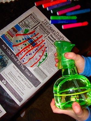 have child draw pattern (fine & visual motor), then spray (hand strength) with vinegar or water for a cool tie-dye craft