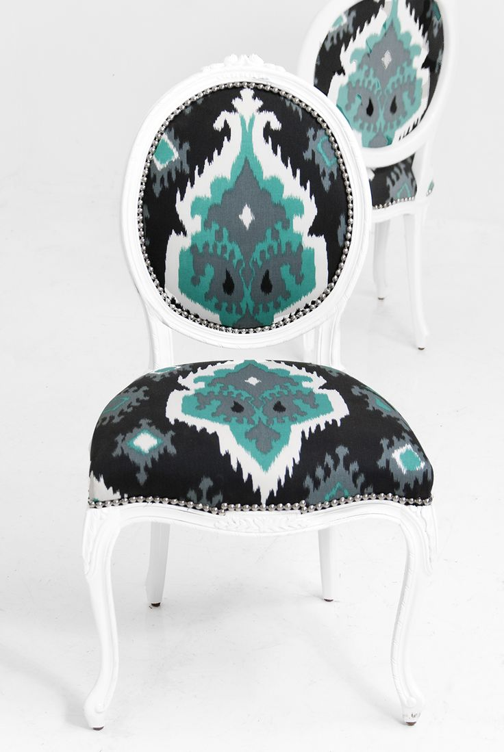 Turquoise ikat chair - Victoria Dining Chair In Aqua Zig Zag Printed Fabric