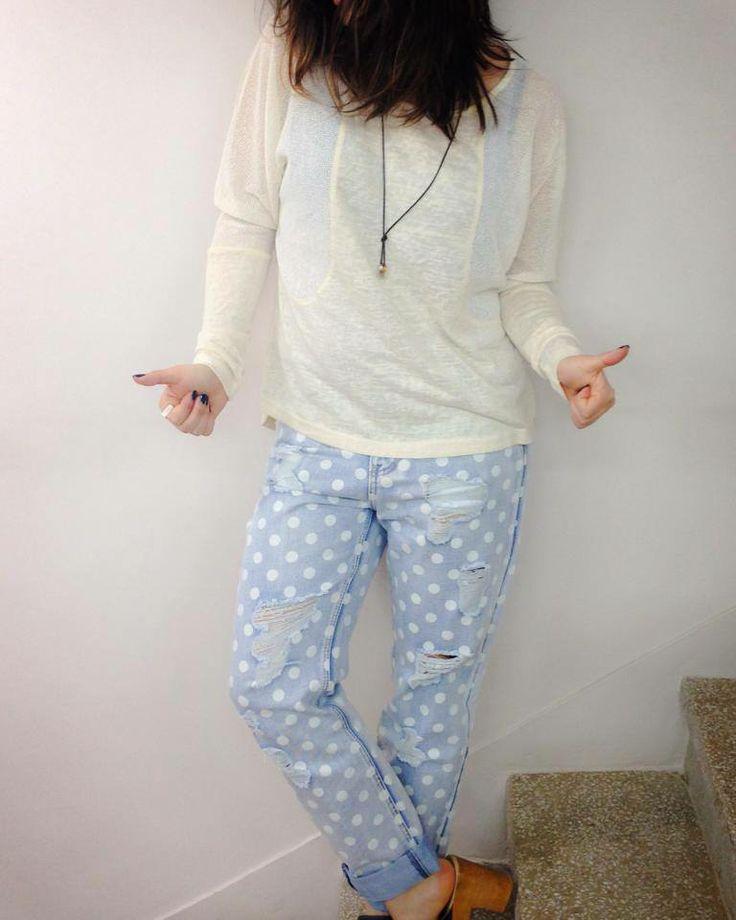 Cool in dots | Antonella Boutique #dots #jeans #AntonellaBoutique