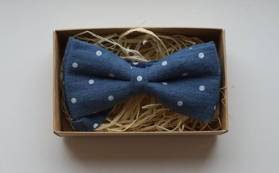 Blue Men's Bowtie / Navy blue bow tie Linen Bow by ArtOfLithuania