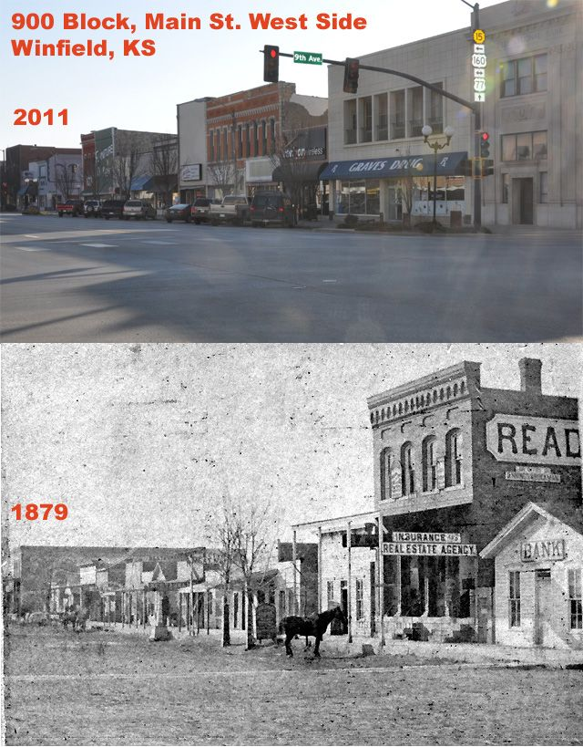 Then and Now Pictures of Winfield, KS 900 block of Main street (sw block )