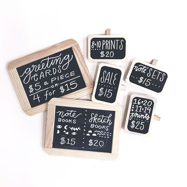 My #handlettered #chalkboard price signs for #diypsi this weekend ✨ prices for some things are slightly less than usual because I love local shoppers (and 5s are easier to deal with anyway!) #chalklettering #handlettering #chalkboardlettering #chalkmarker