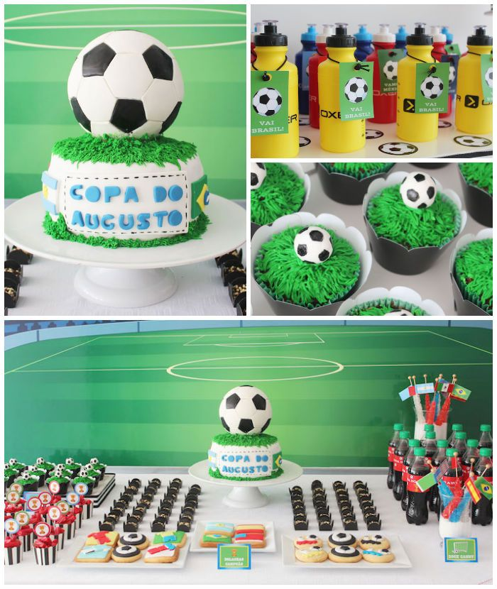 World Cup Soccer themed birthday party with Lots of Fabulous Ideas via Kara's Party Ideas | Cake, decor, desserts, games and more! KarasPart...