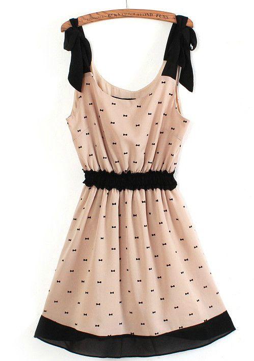 Apricot Spaghetti Strap Bandeau Bow Print Dress