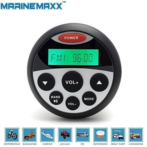 MarineMaxx Waterproof Marine Gauge Radio FM AM MP3 USB Audio Stereo Receiver for Boat ATV UTV SPA