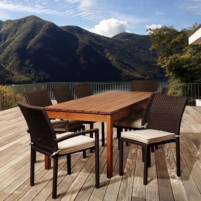 Amazonia Gloria 9-piece Eucalyptus and Wicker Outdoor Dining Set , Patio Furniture