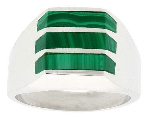 Mens Sterling Silver  Malachite Ring by TemptingJewels on Etsy, $115.00