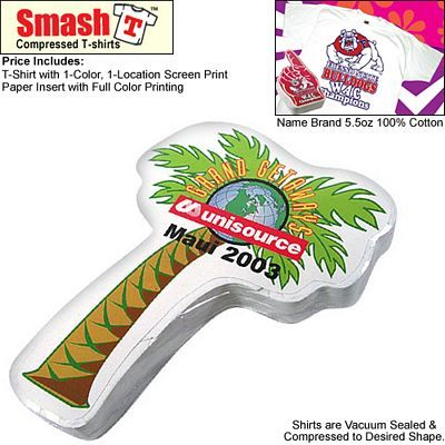 Compressed T-Shirt: Palm Tree #tees #advertising #promoproducts | Compressed Advertising T-Shirts | Promotional Compressed Tee Shirts