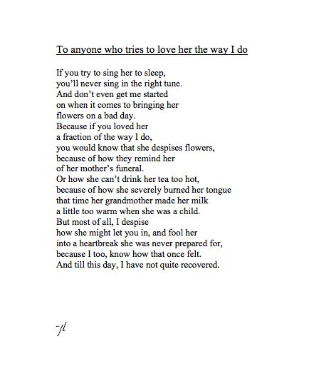 Her amazing poems for I Love