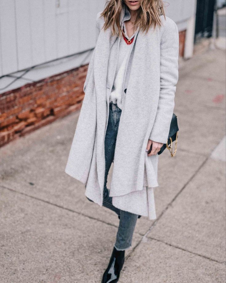 Jess Ann Kirby styles the White and Warren Travel Wrap with Paige jeans and booties | Shopbop Sale