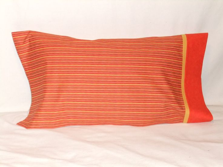 """STRIPES in Orange, Green & Yellow PILLOWCASE - 20"""" x 35"""" by KatiesCOVERS on Etsy"""