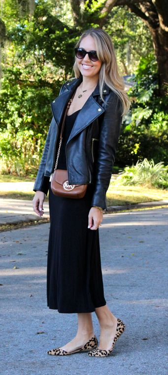 wouldn't have thought of this, but like it -- Black midi, black leather jacket, leopard flats