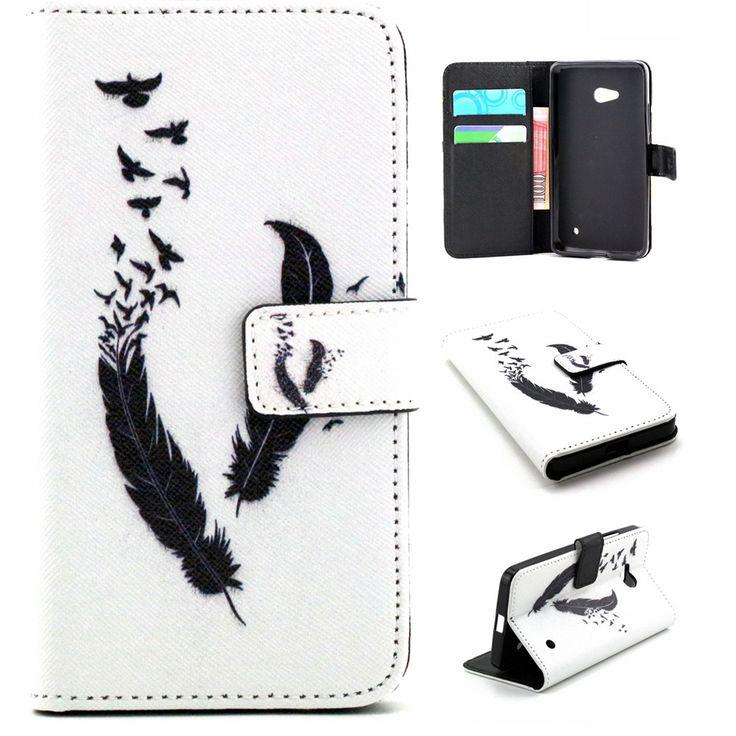 Qiaogle Folio PU Кожаный Чехол-F038/Черные перья + голуби-для Microsoft Lumia 640 Бумажник Обложка