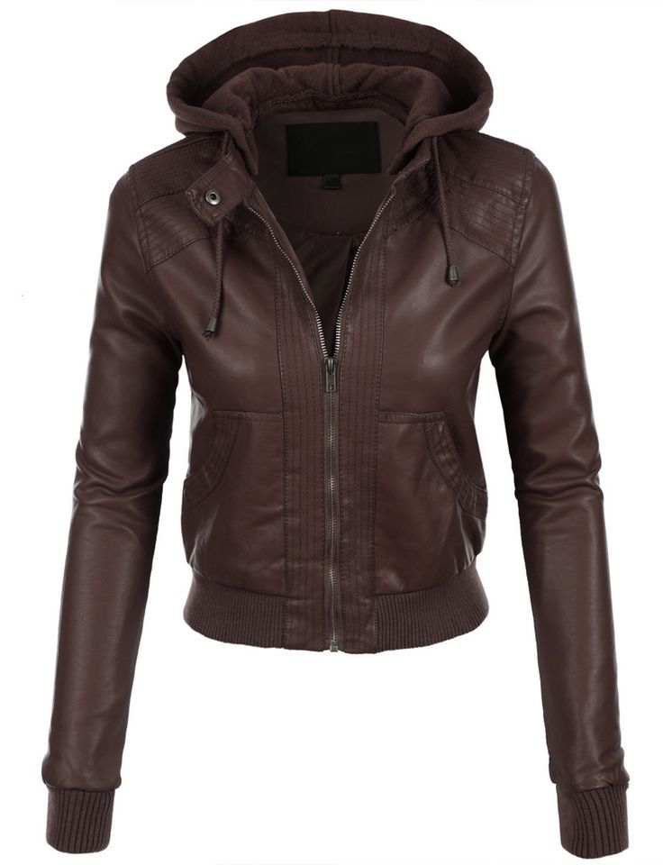 Leather jacket with hood women