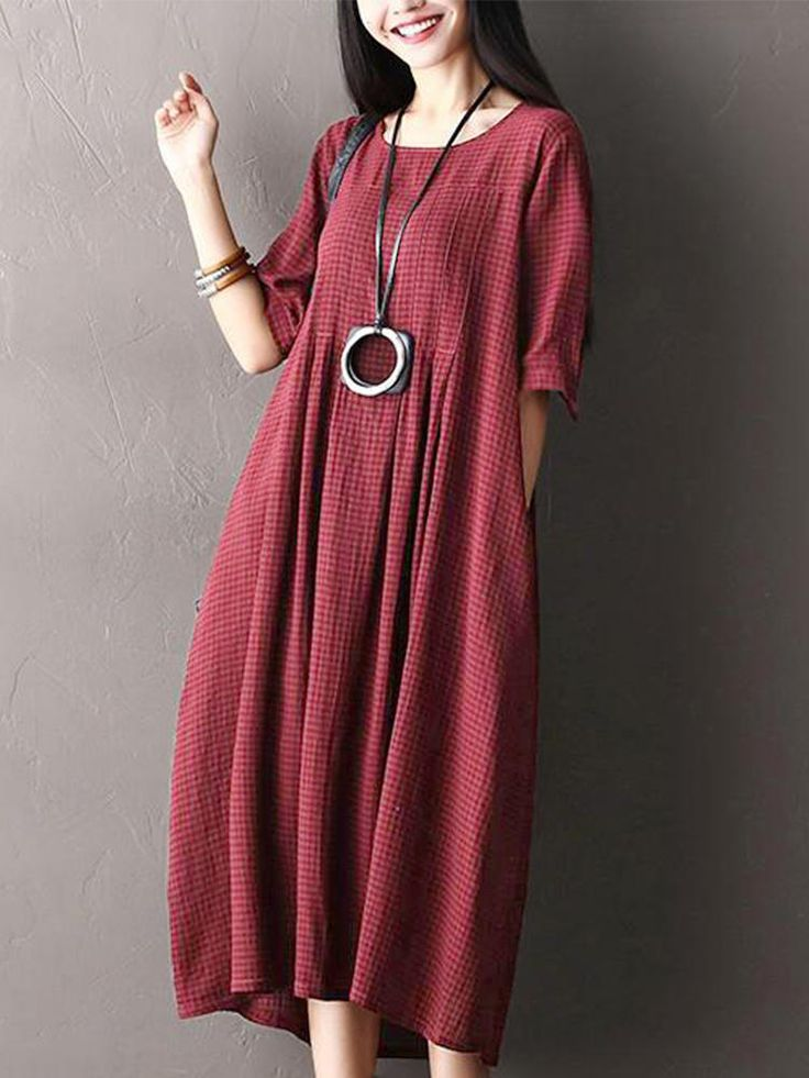 O-NEWE Plus Size Vintage Women Plaid Half Sleeve Dresses - Banggood Mobile