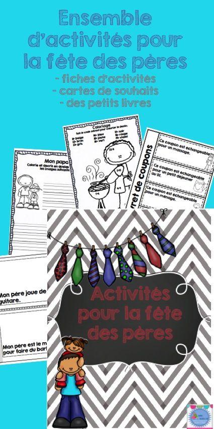 Father's day / Fête des pères Activity in french (français) incluant: - des fiches d'activités - des cartes de souhaits - des petits livres de lecture à créer