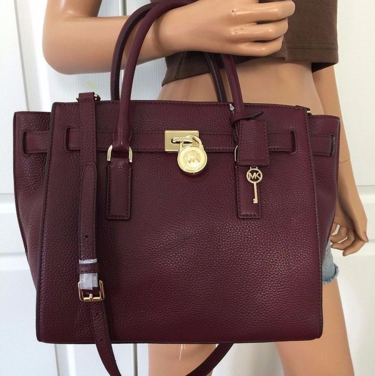 f5e23ab875 ... Michael Kors Hamilton Traveler Large Leather Shoulder Handbag Bag Purse  Merlot MichaelKors TotesShoppers ...