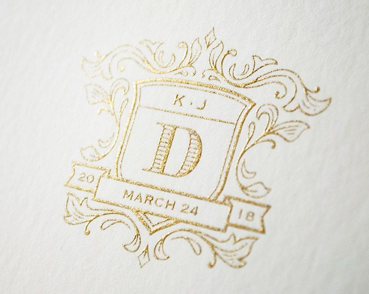 Kleinfeld Paper || Wedding Heraldry || gold engraved crest