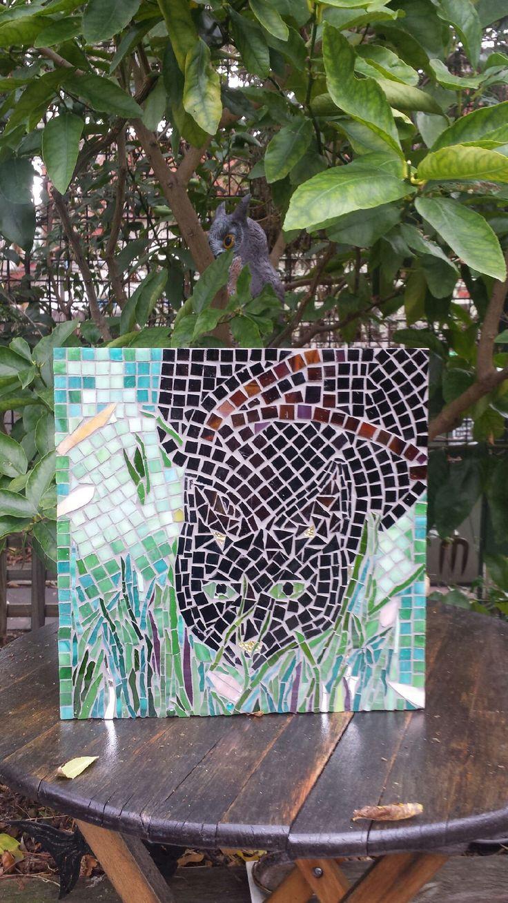 Eartha Kitt, our cat in mosaic