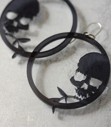 Skull and Bamboo hoops Black by infraredstudio on Etsy, $35.00