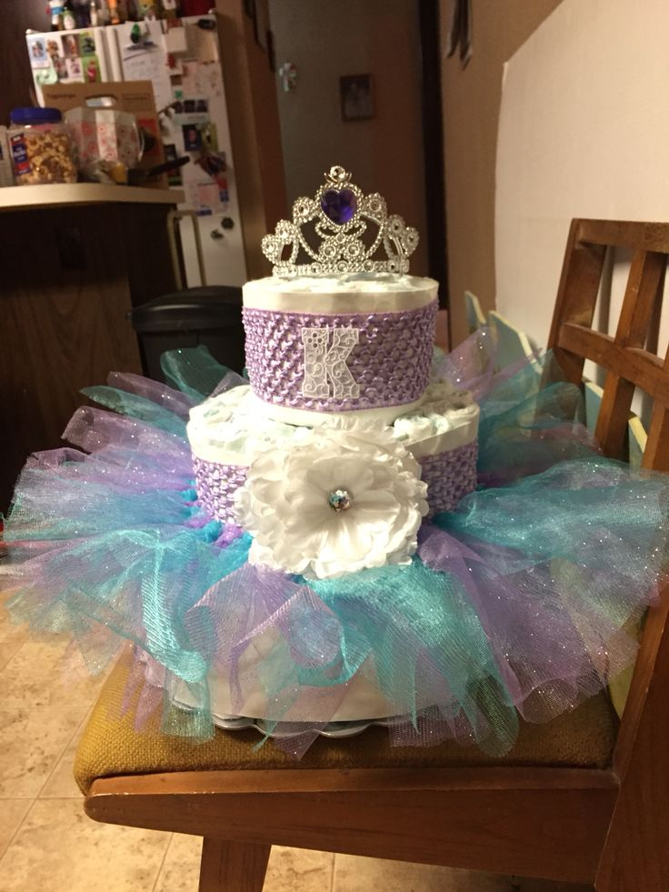 Purple and teal diaper cake for a girl!