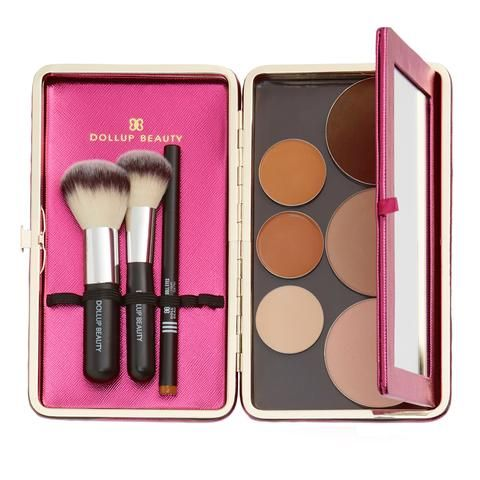 Dollup Case Makeup Organizer w/ Empty Magnetic Palette in Metallic Berry