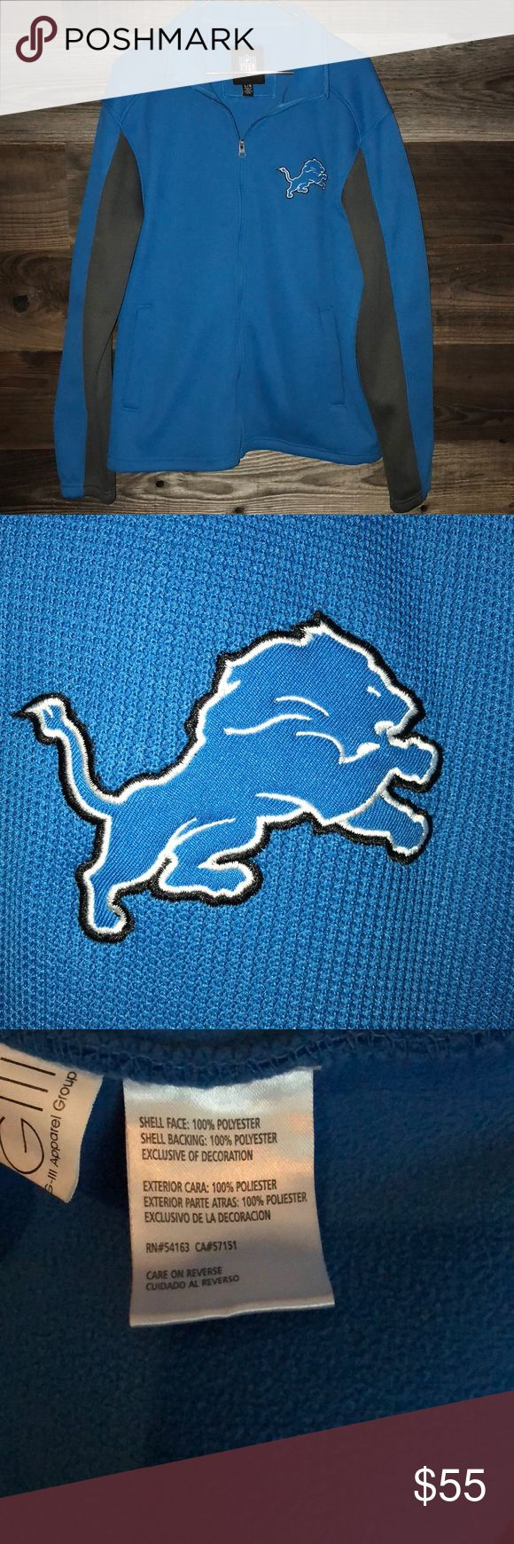 NWOT Lions zip up sweatshirt Official NFL gear. Detroit Lions women's zip up. Could be consider a sweatshirt or a jacket. Fleece lined inside. New without tags. Tops Sweatshirts & Hoodies