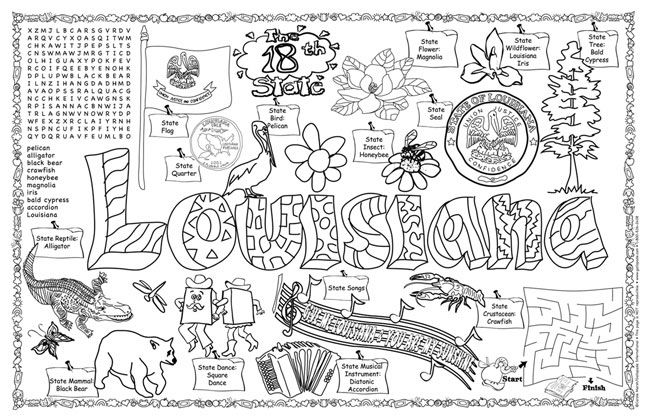 178 best images about painting states on pinterest for Louisiana state symbols coloring pages