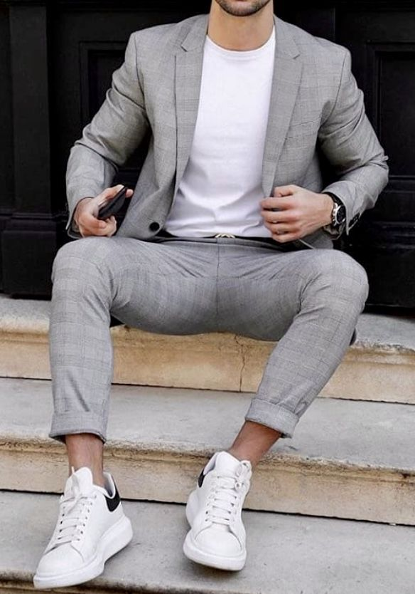 Suits and sneakers, Grey suit men