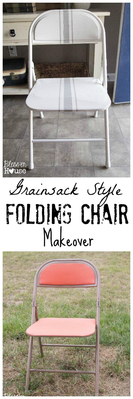 Bless'er House | Easy Grainsack Style Folding Chair Makeover