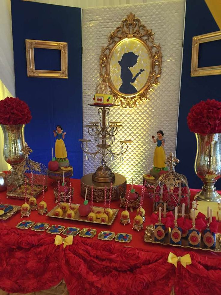 Pretty Snow White birthday party! See more party planning ideas at CatchMyParty.com!