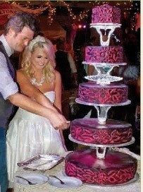 The Fun Rock Nu0027 Roll Wedding Of Miranda Lambert And Blake Shelton Had An  Equally Funky Tiered Vanilla Cake In Brushed Leather Color Finished With  Hot Pink ...