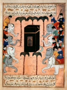 Elephants depicts the attack on Mecca by Abraha Ebrehe, king of Yemen, around 570, who brought his war elephants intending to destroy the Kaaba.