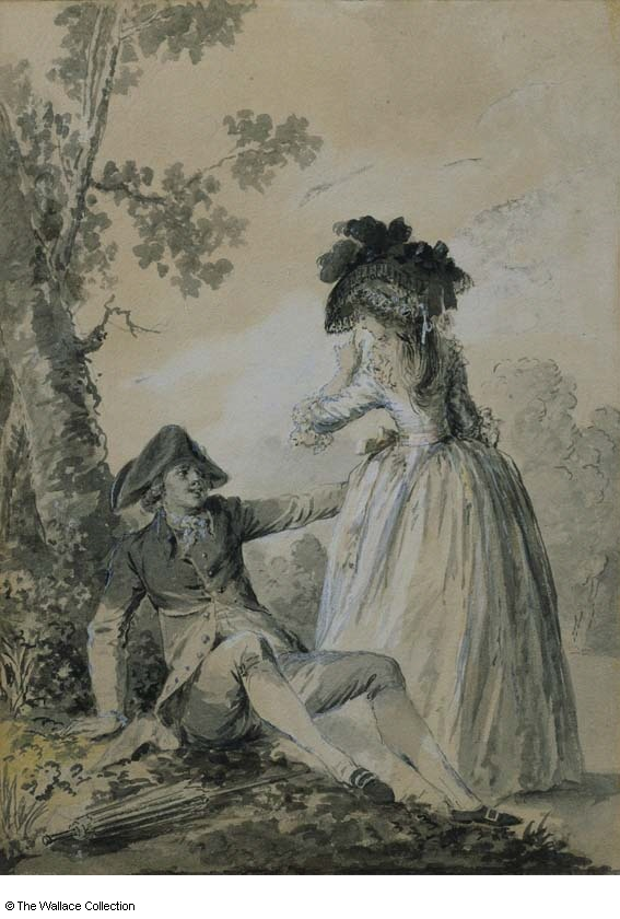 Niclas Lafrensen (1737 - 1807)  Gallant Conversation  France  probably mid 1780s  Painting  Grey wash, bodycolour and watercolour on paper  Image size: 16.9 x 11.9 cm  P772  Not on display