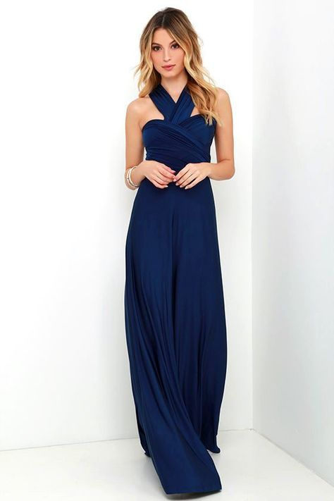 """Any which way you wrap it, the Always Stunning Convertible Navy Blue Maxi Dress is one amazing dress! Two, 82"""" long lengths of fabric sprout from an elastic waistband and wrap into dozens of possible bodice styles including halter, one-shoulder, cross-front, strapless, and more. Stretchy navy fabric has a satiny sheen, and a full length maxi skirt pairs perfectly with any choice you make up top. Want Styling Tips? See How To Wear It!"""