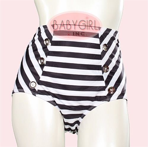 Broad Minded Clothing - Black White Striped Jail Bait High Waist Pinup Swimwear Bottoms with Button Front Details. $24.50