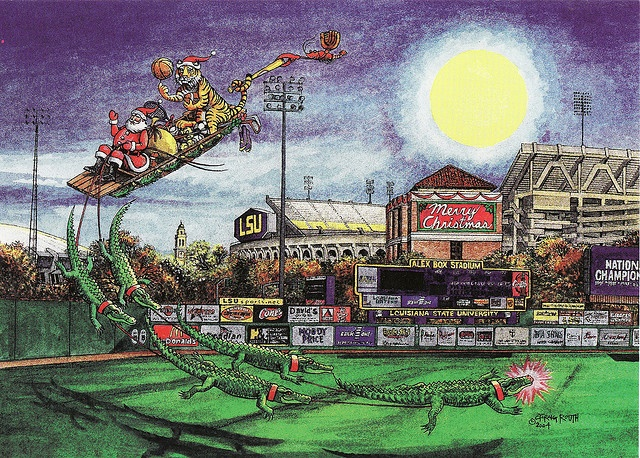 Pierre Noel, the Cajun Father Christmas guides a pirogue pulled by a team of slinky gators as he makes a stop in Baton Rouge at the LSU Stadium. Mike the Tiger, LSU's mascot juggles sports paraphernalia as they zoom in for a landing.