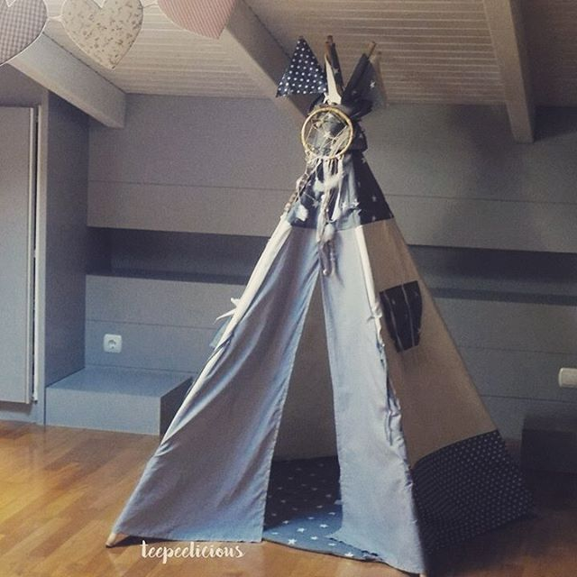"The #grey ""•dot⭐️stars•"" #teepee  once again! Your #favorite ❤️ our #bestseller 👍 for #boysroom for #girlsroom for #livingroom for #playroom  for #outdoors ... Anywhere! #handmade #teepeelicious #madeingreece #flags #bounding #playmat #dreamcatcher #bamboo #stars #customade #kidsroomdecor #kidsroominspo"