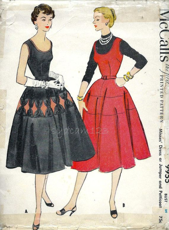 McCalls 9955 Rare Vintage 1950s Scoop Neck Sundress Pattern All Around by sydcam123