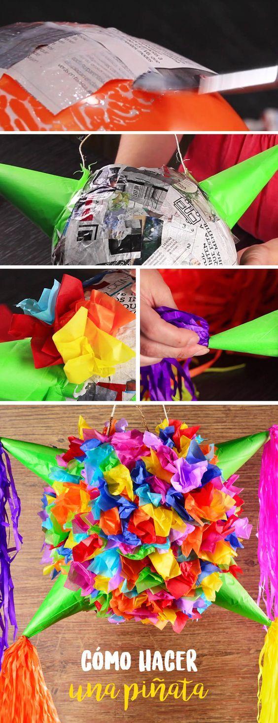No puede faltar la piñata para cualquier celebración. Y qué mejor manera de tenerla que haciéndola tú misma.