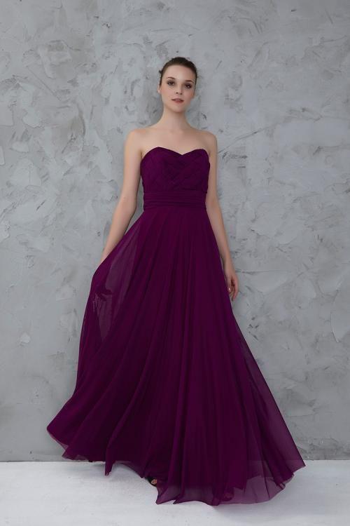 Mor Straplez Uzun Abiye Elbise - Fotoğraf