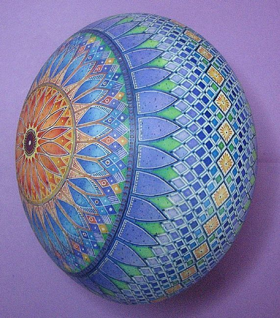 Pysanka, Pysanky ostrich egg by Artist Mark E Malachowski.  I purchased this egg from Mark and I love it ♥