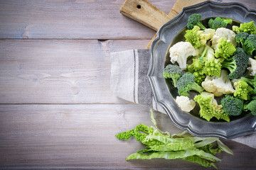 Cauliflower, savoy cabbage, romanesco broccoli and sicilian broccoli